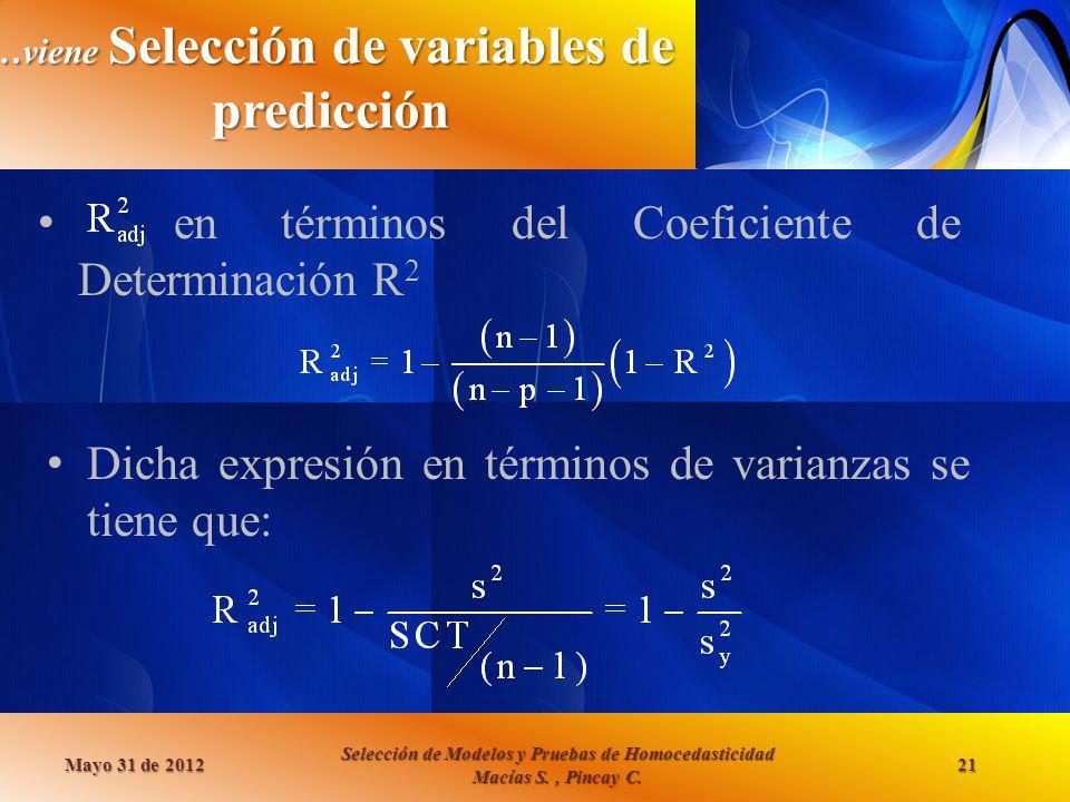 …viene Selección de variables de predicción en términos del Coeficiente de Determinación R 2 Mayo 31 de 2012 Selección de Modelos y Pruebas de Homoced