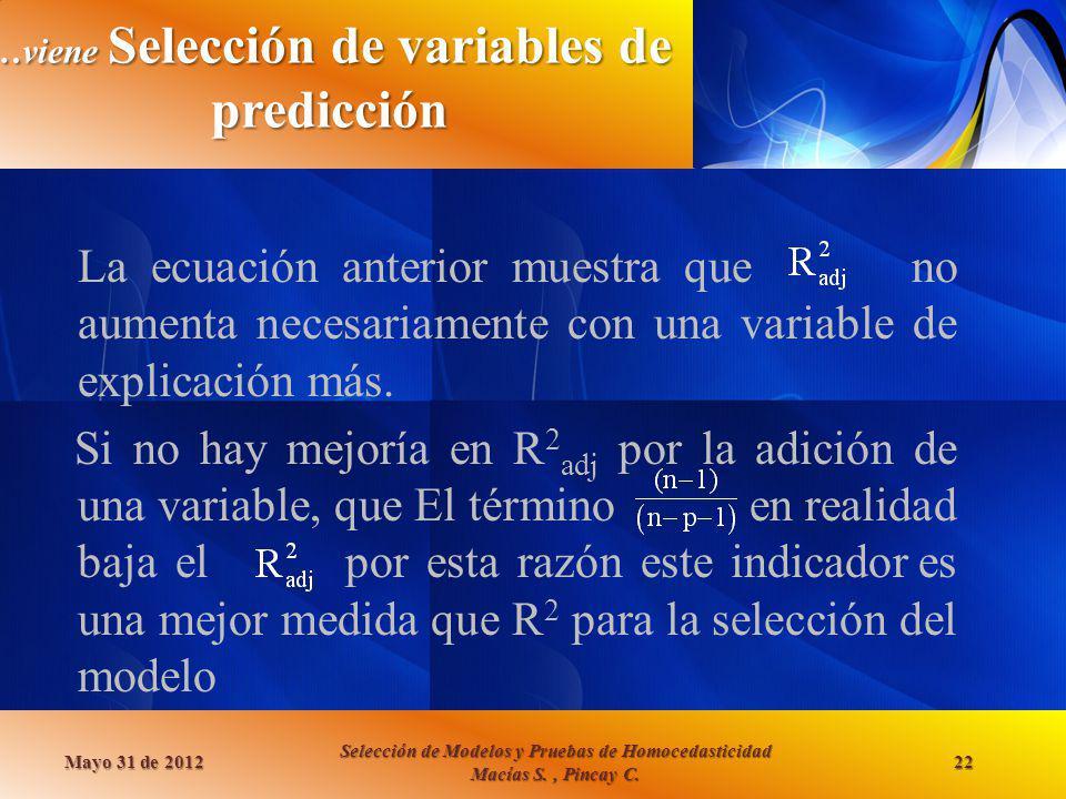 …viene Selección de variables de predicción La ecuación anterior muestra que no aumenta necesariamente con una variable de explicación más. Si no hay