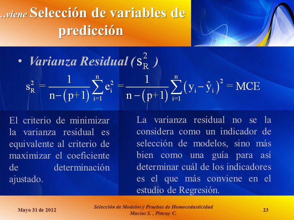 …viene Selección de variables de predicción Varianza Residual ( ) Mayo 31 de 2012 Selección de Modelos y Pruebas de Homocedasticidad Macías S., Pincay