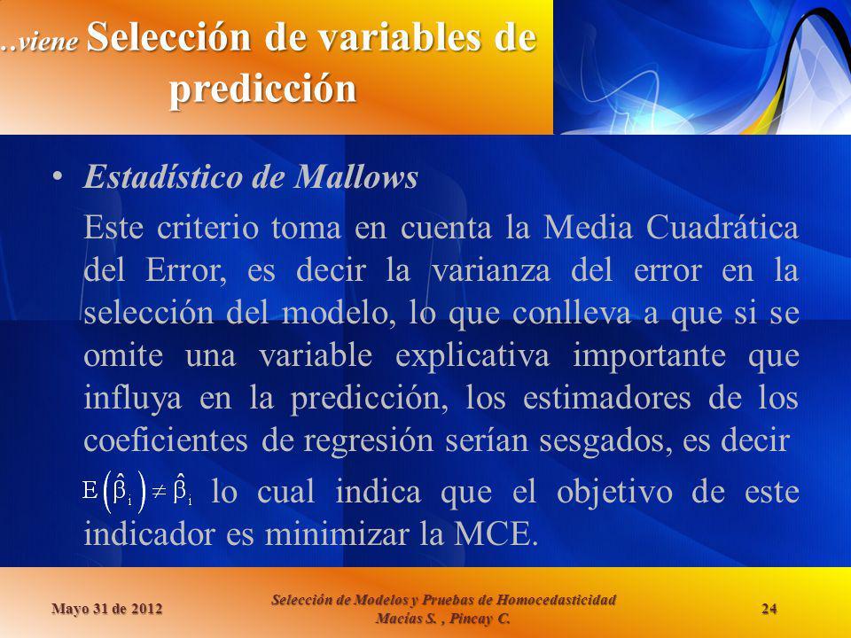 …viene Selección de variables de predicción Estadístico de Mallows Este criterio toma en cuenta la Media Cuadrática del Error, es decir la varianza de