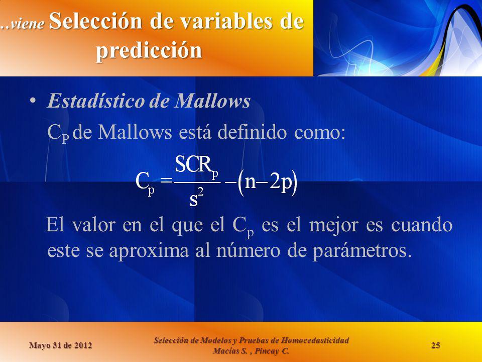 …viene Selección de variables de predicción Estadístico de Mallows C P de Mallows está definido como: El valor en el que el C p es el mejor es cuando