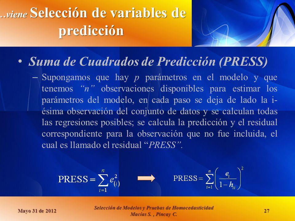 …viene Selección de variables de predicción Suma de Cuadrados de Predicción (PRESS) – Supongamos que hay p parámetros en el modelo y que tenemos n obs