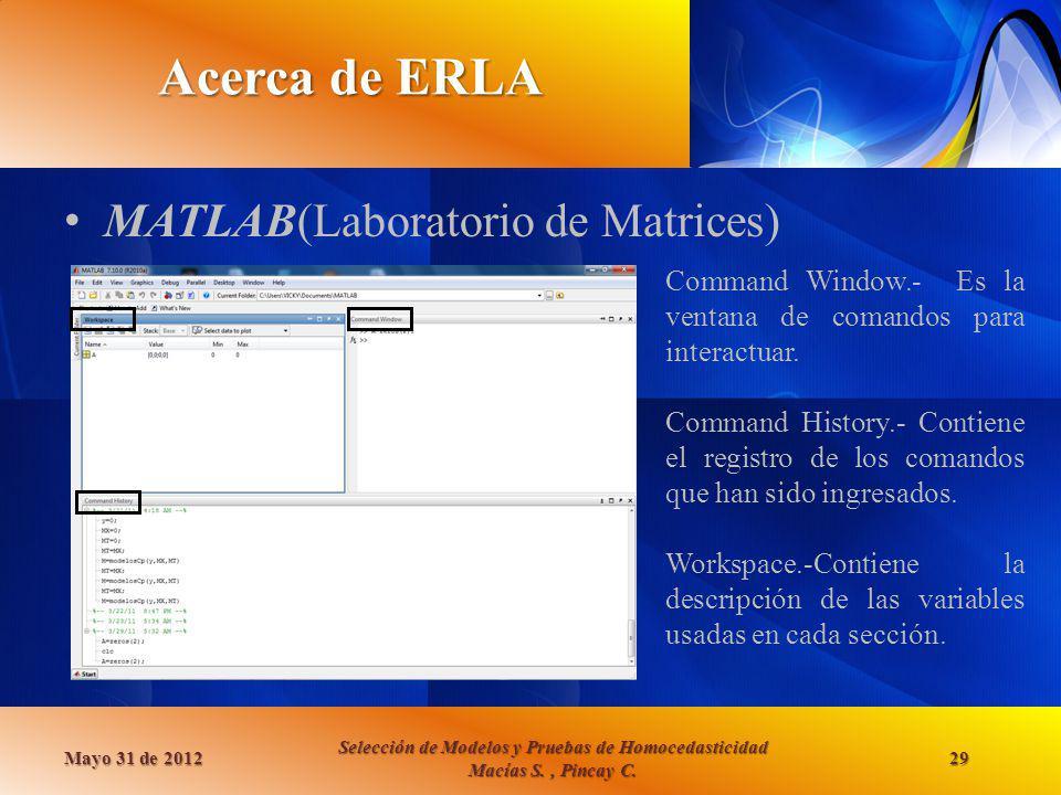 Acerca de ERLA MATLAB(Laboratorio de Matrices) Mayo 31 de 2012 Selección de Modelos y Pruebas de Homocedasticidad Macías S., Pincay C. 29 Command Wind