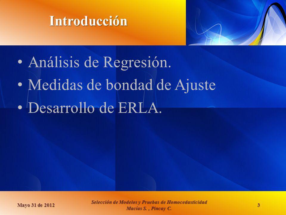 Introducción Análisis de Regresión. Medidas de bondad de Ajuste Desarrollo de ERLA. Mayo 31 de 2012 Selección de Modelos y Pruebas de Homocedasticidad