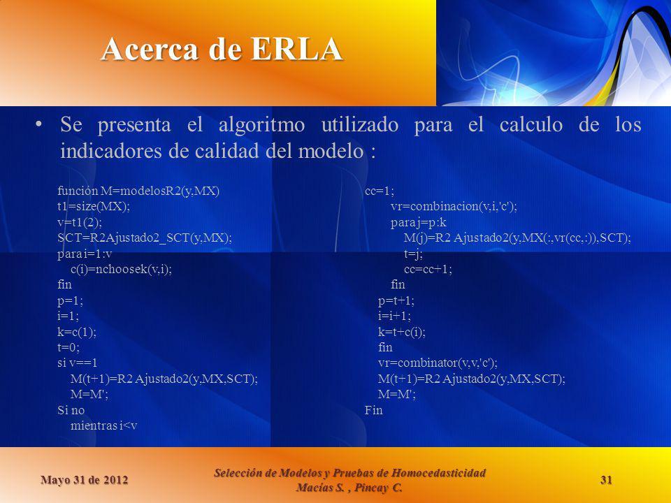 Acerca de ERLA Se presenta el algoritmo utilizado para el calculo de los indicadores de calidad del modelo : Mayo 31 de 2012 Selección de Modelos y Pr