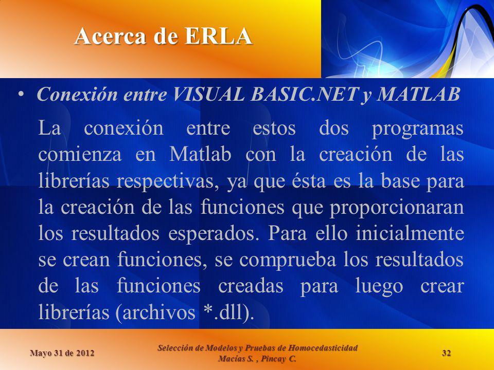 Acerca de ERLA Conexión entre VISUAL BASIC.NET y MATLAB Mayo 31 de 2012 Selección de Modelos y Pruebas de Homocedasticidad Macías S., Pincay C. 32 La
