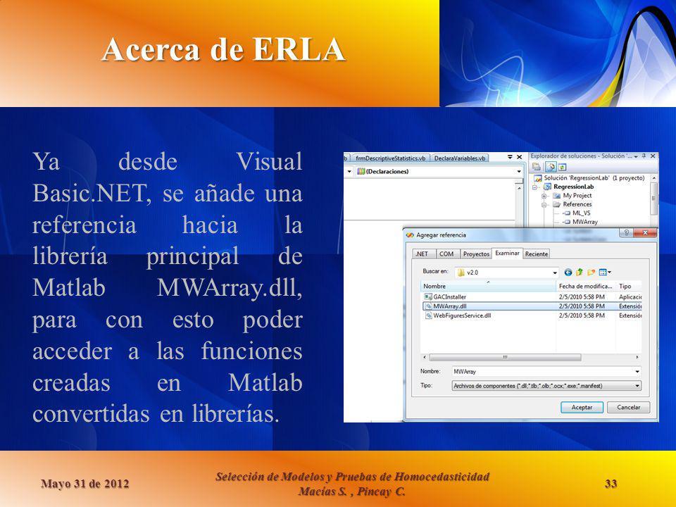 Acerca de ERLA Mayo 31 de 2012 Selección de Modelos y Pruebas de Homocedasticidad Macías S., Pincay C. 33 Ya desde Visual Basic.NET, se añade una refe
