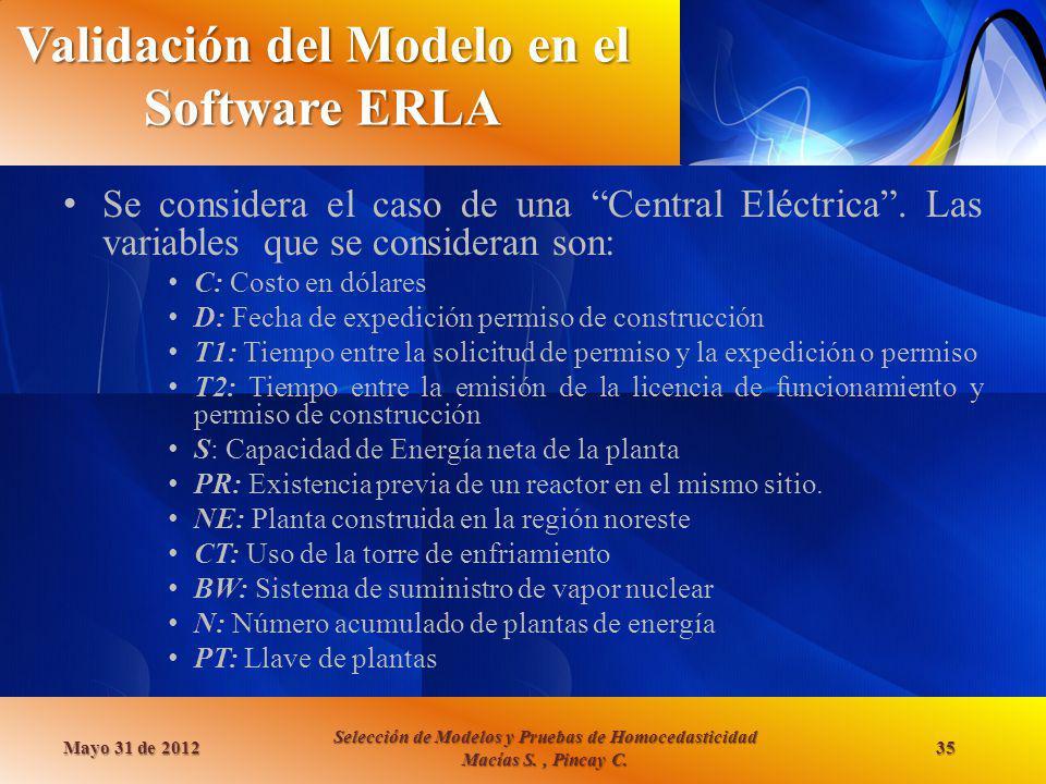 Validación del Modelo en el Software ERLA Se considera el caso de una Central Eléctrica. Las variables que se consideran son: C: Costo en dólares D: F