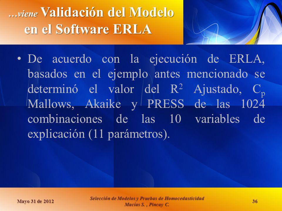 …viene Validación del Modelo en el Software ERLA Mayo 31 de 2012 Selección de Modelos y Pruebas de Homocedasticidad Macías S., Pincay C. 36 De acuerdo