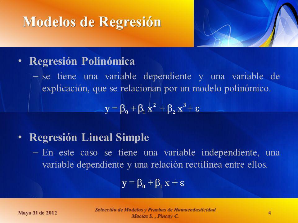 Modelos de Regresión Regresión Polinómica – se tiene una variable dependiente y una variable de explicación, que se relacionan por un modelo polinómic