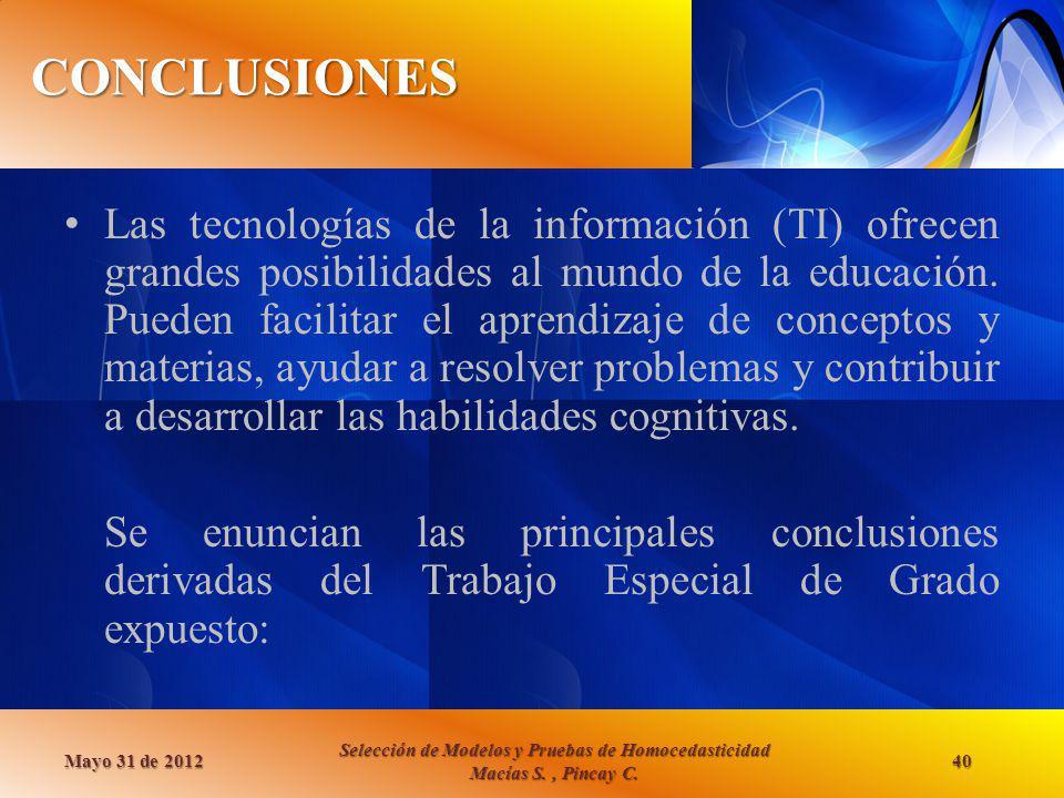 CONCLUSIONES Mayo 31 de 2012 Selección de Modelos y Pruebas de Homocedasticidad Macías S., Pincay C. 40 Las tecnologías de la información (TI) ofrecen