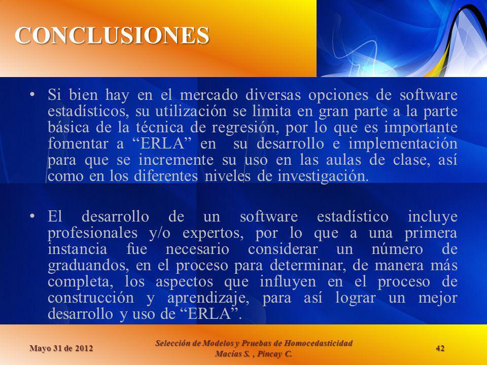 CONCLUSIONES Mayo 31 de 2012 Selección de Modelos y Pruebas de Homocedasticidad Macías S., Pincay C. 42 Si bien hay en el mercado diversas opciones de