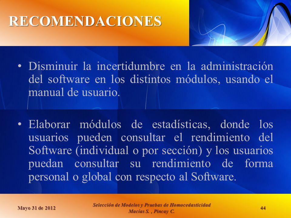 RECOMENDACIONES Mayo 31 de 2012 Selección de Modelos y Pruebas de Homocedasticidad Macías S., Pincay C. 44 Disminuir la incertidumbre en la administra