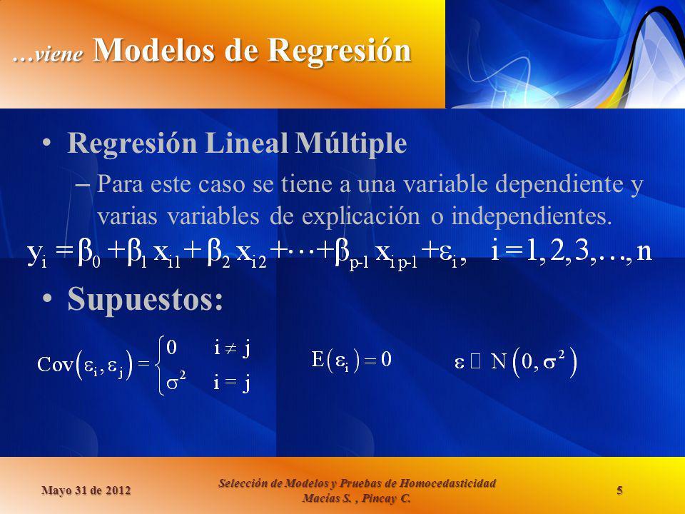 …viene Modelos de Regresión Regresión Lineal Múltiple – Para este caso se tiene a una variable dependiente y varias variables de explicación o indepen