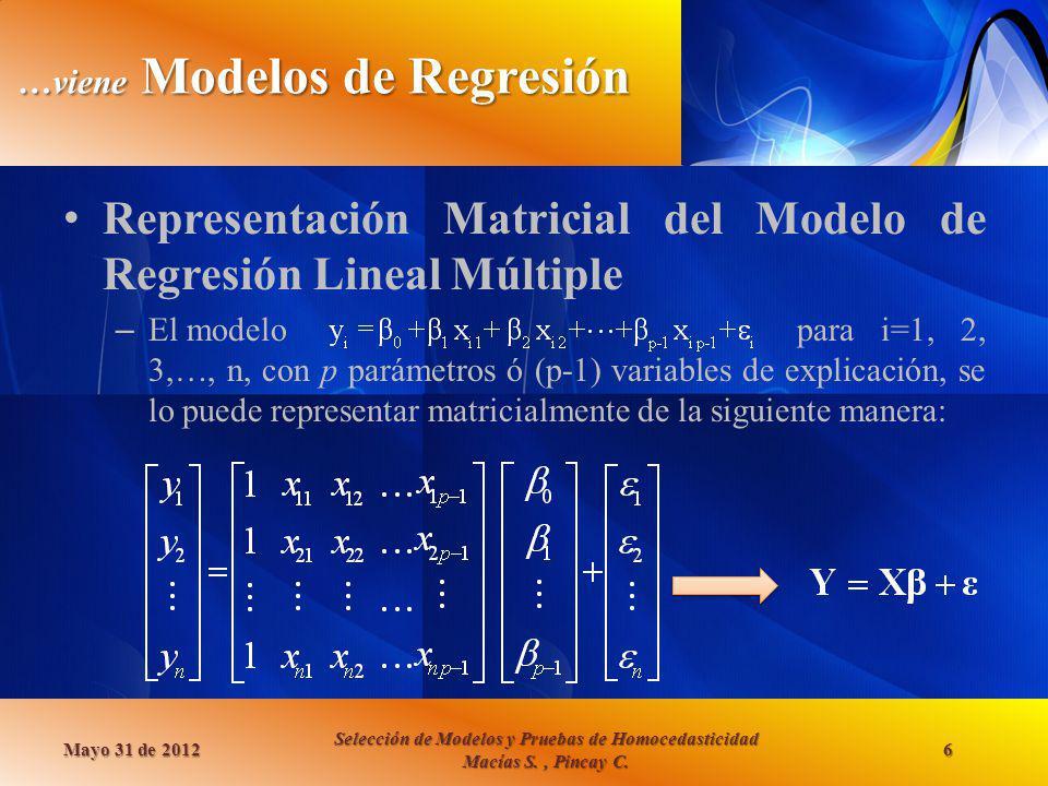 …viene Modelos de Regresión Representación Matricial del Modelo de Regresión Lineal Múltiple – El modelo para i=1, 2, 3,…, n, con p parámetros ó (p-1)