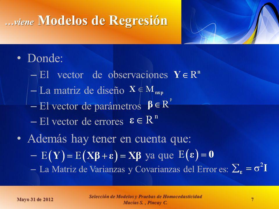 …viene Modelos de Regresión Donde: – El vector de observaciones – La matriz de diseño – El vector de parámetros – El vector de errores Además hay tene