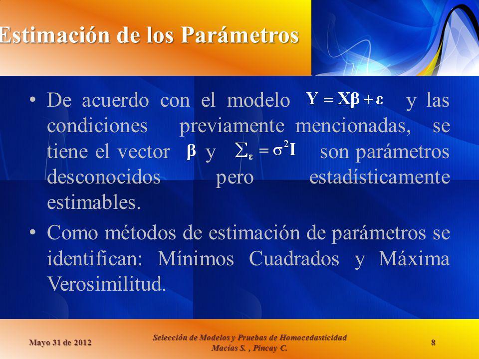 Estimación de los Parámetros De acuerdo con el modelo y las condiciones previamente mencionadas, se tiene el vector y son parámetros desconocidos pero