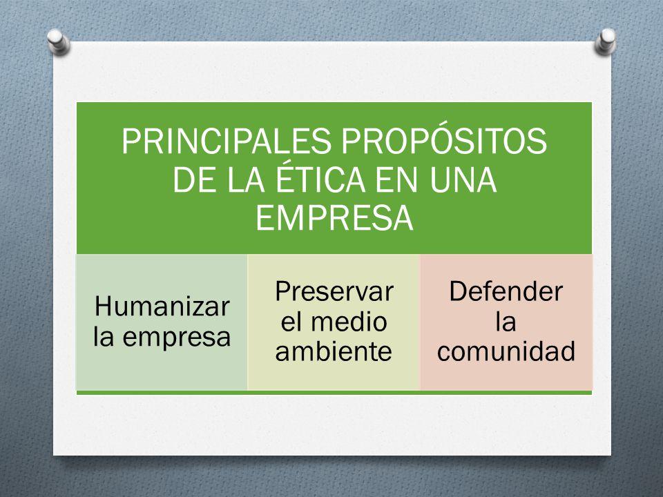 PRINCIPALES PROPÓSITOS DE LA ÉTICA EN UNA EMPRESA Humanizar la empresa Preservar el medio ambiente Defender la comunidad