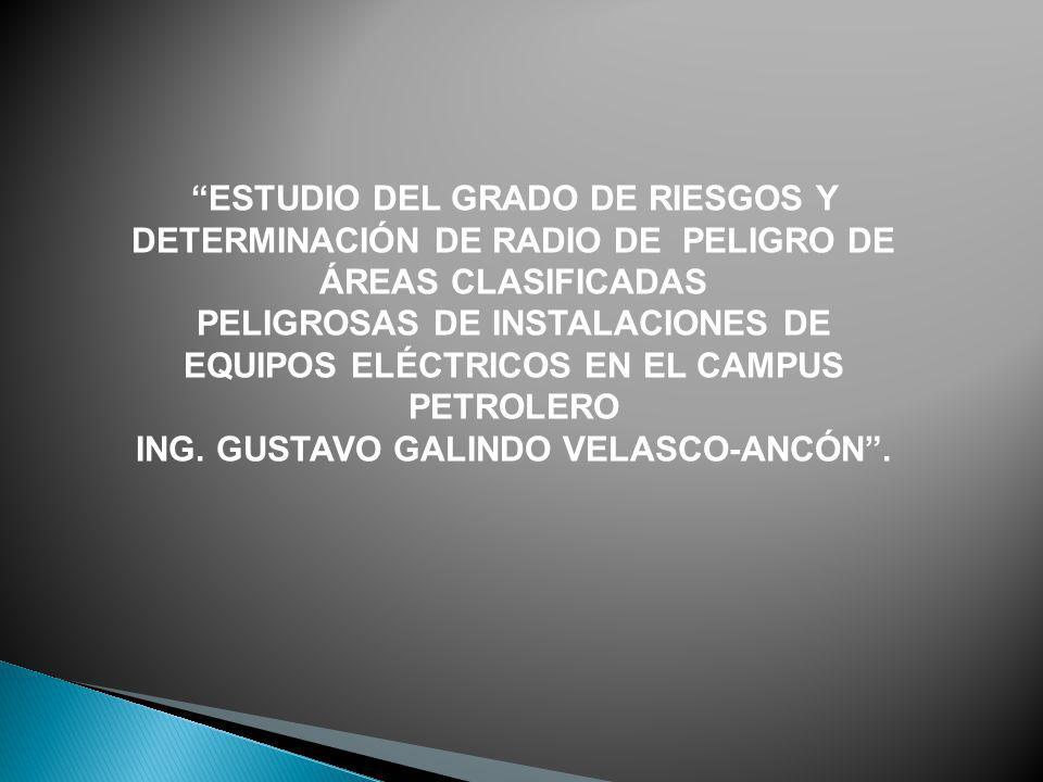 ESTUDIO DEL GRADO DE RIESGOS Y DETERMINACIÓN DE RADIO DE PELIGRO DE ÁREAS CLASIFICADAS PELIGROSAS DE INSTALACIONES DE EQUIPOS ELÉCTRICOS EN EL CAMPUS
