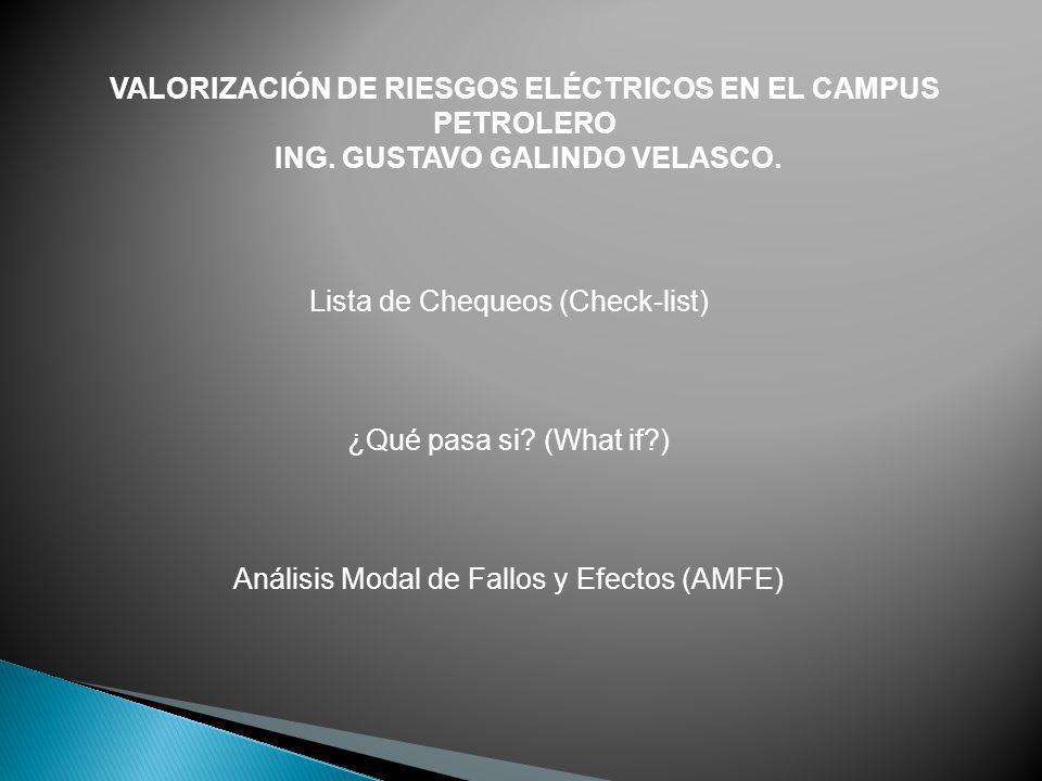 VALORIZACIÓN DE RIESGOS ELÉCTRICOS EN EL CAMPUS PETROLERO ING. GUSTAVO GALINDO VELASCO. Lista de Chequeos (Check-list) ¿Qué pasa si? (What if?) Anális
