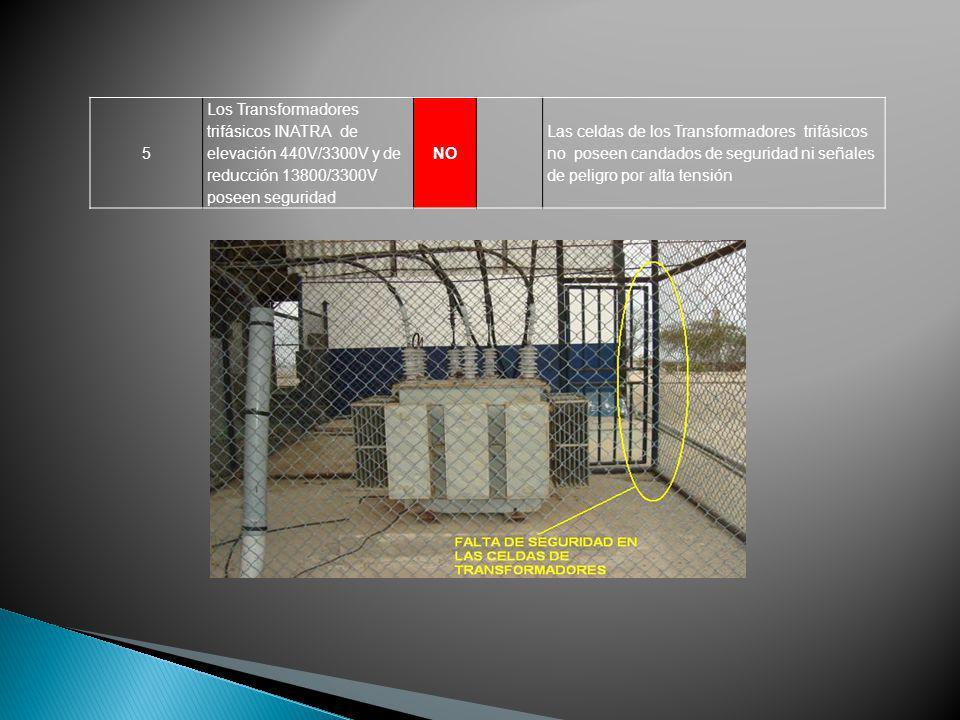 5 Los Transformadores trifásicos INATRA de elevación 440V/3300V y de reducción 13800/3300V poseen seguridad NO Las celdas de los Transformadores trifá