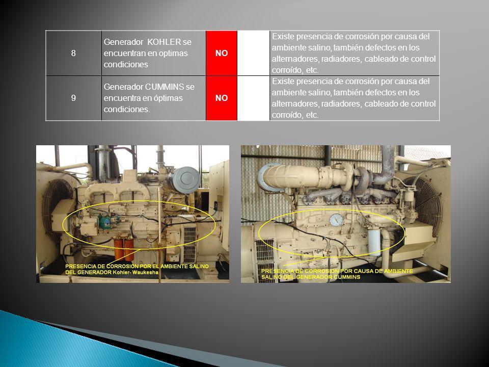 8 Generador KOHLER se encuentran en optimas condiciones NO Existe presencia de corrosión por causa del ambiente salino, también defectos en los altern