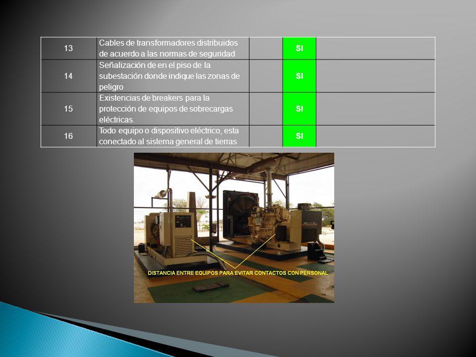 13 Cables de transformadores distribuidos de acuerdo a las normas de seguridad SI 14 Señalización de en el piso de la subestación donde indique las zo