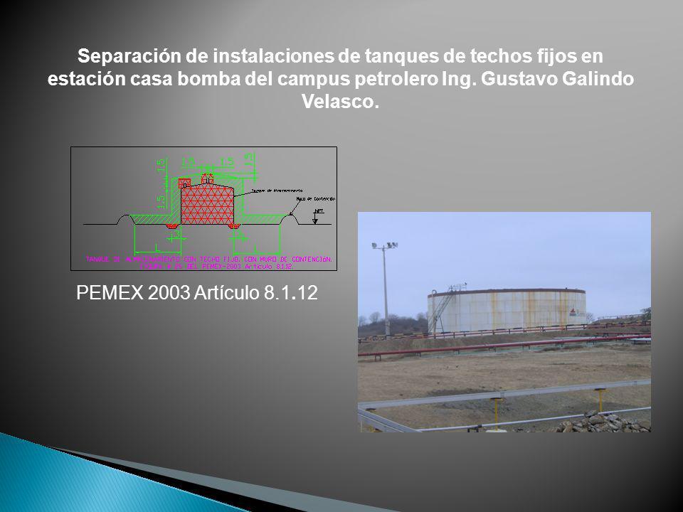 Separación de instalaciones de tanques de techos fijos en estación casa bomba del campus petrolero Ing. Gustavo Galindo Velasco. PEMEX 2003 Artículo 8