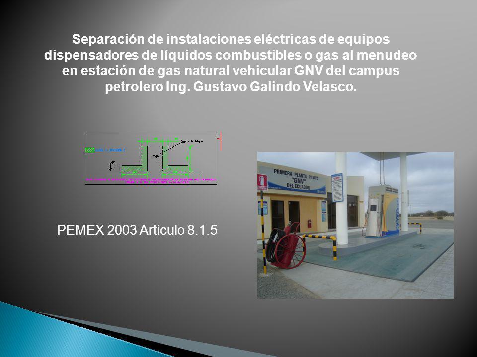 Separación de instalaciones eléctricas de equipos dispensadores de líquidos combustibles o gas al menudeo en estación de gas natural vehicular GNV del