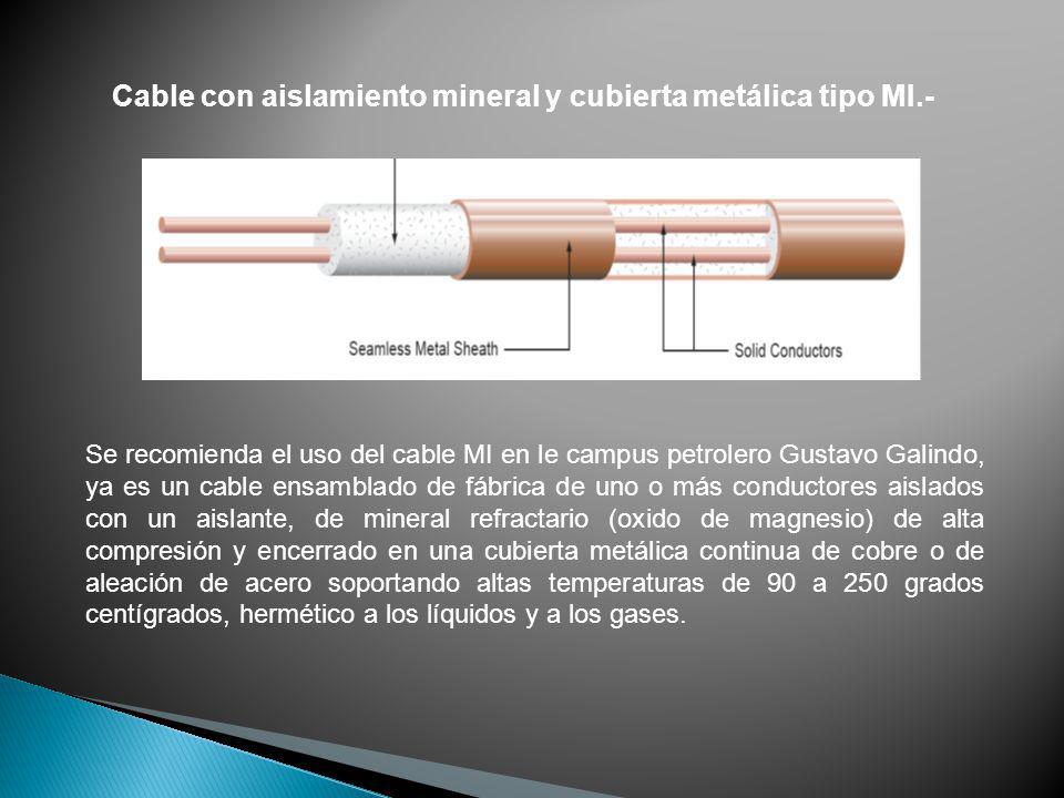 Cable con aislamiento mineral y cubierta metálica tipo MI.- Se recomienda el uso del cable MI en le campus petrolero Gustavo Galindo, ya es un cable e
