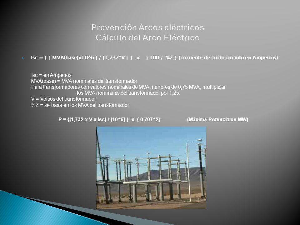 Isc = { [ MVA(base)x10^6 ] / [1,732*V ] } x { 100 / %Z } (corriente de corto circuito en Amperios) Isc = en Amperios MVA(base) = MVA nominales del tra