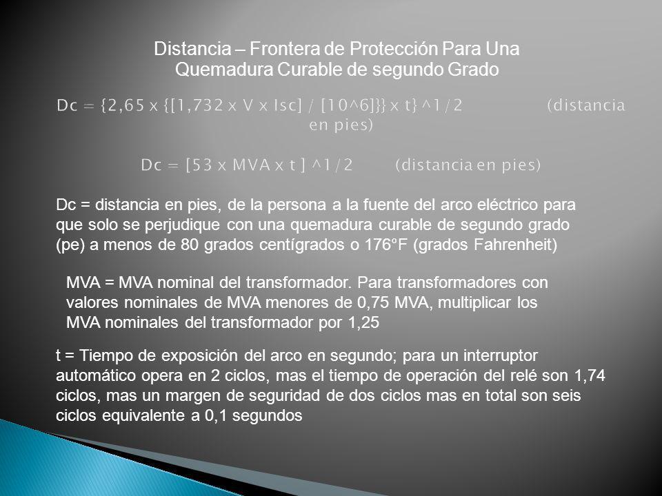 Distancia – Frontera de Protección Para Una Quemadura Curable de segundo Grado Dc = distancia en pies, de la persona a la fuente del arco eléctrico pa