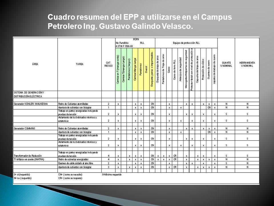 Cuadro resumen del EPP a utilizarse en el Campus Petrolero Ing. Gustavo Galindo Velasco.
