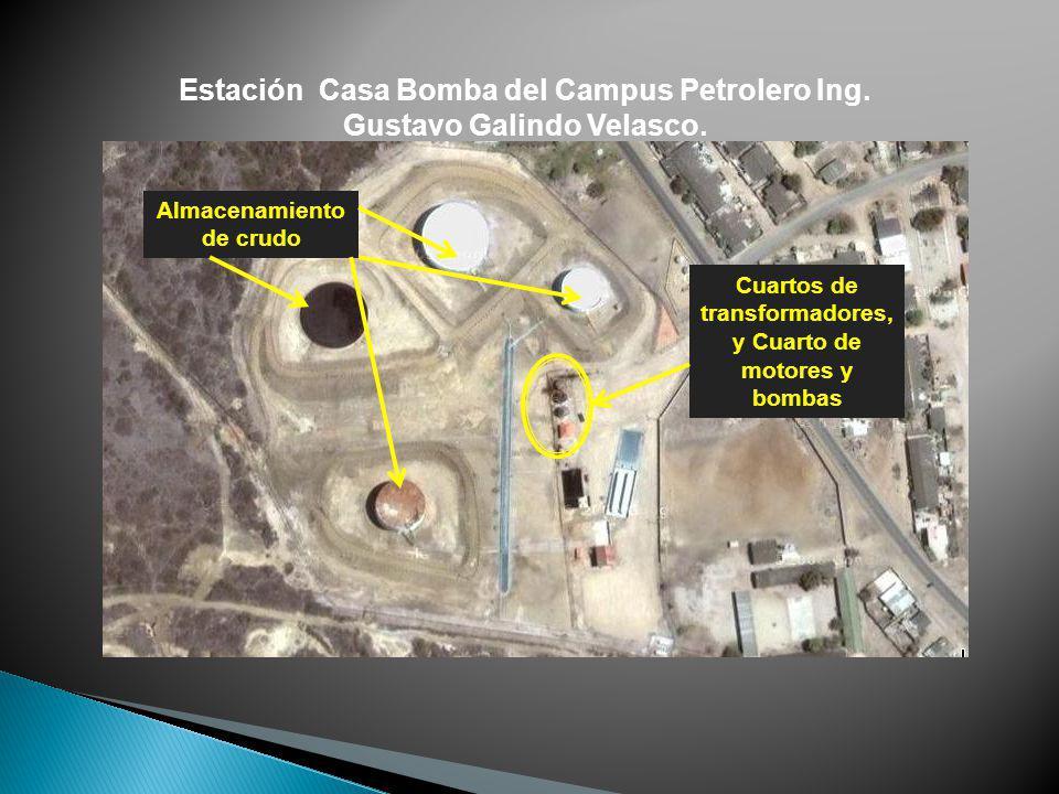 Almacenamiento de crudo Cuartos de transformadores, y Cuarto de motores y bombas Estación Casa Bomba del Campus Petrolero Ing. Gustavo Galindo Velasco