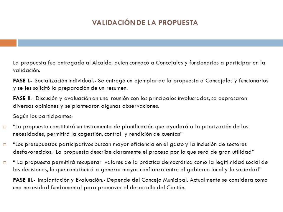 VALIDACIÓN DE LA PROPUESTA La propuesta fue entregada al Alcalde, quien convocó a Concejales y funcionarios a participar en la validación. FASE I.- So