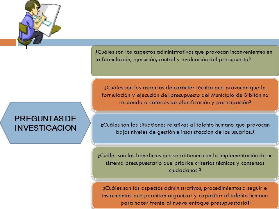 | PREGUNTAS DE INVESTIGACION ¿Cuáles son las situaciones relativas al talento humano que provocan bajos niveles de gestión e insatisfacción de los usu
