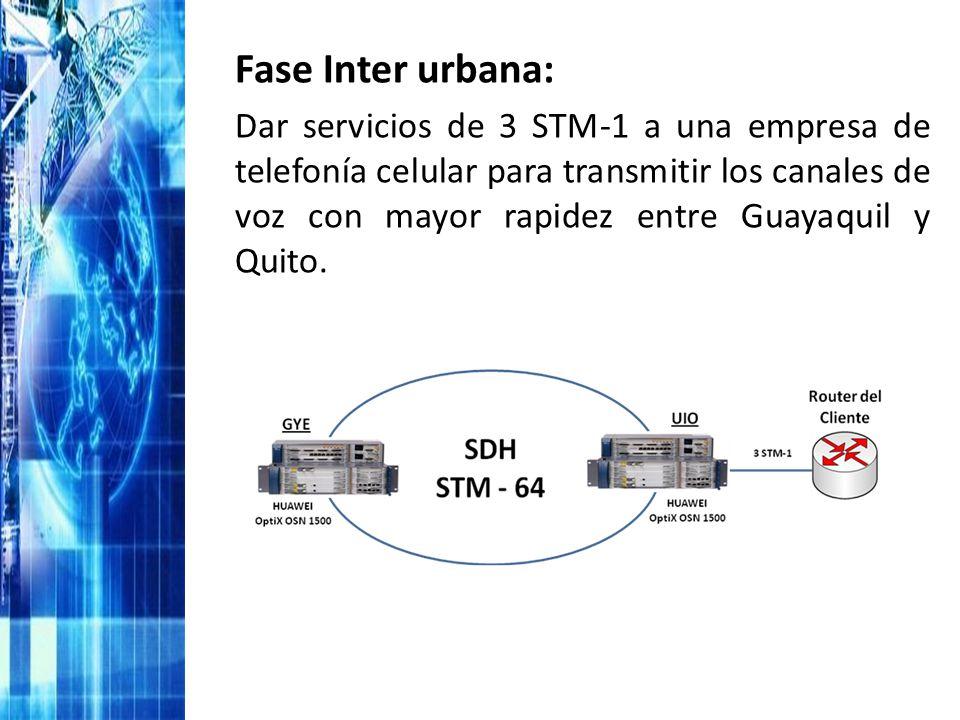 Fase Inter urbana: Dar servicios de 3 STM-1 a una empresa de telefonía celular para transmitir los canales de voz con mayor rapidez entre Guayaquil y