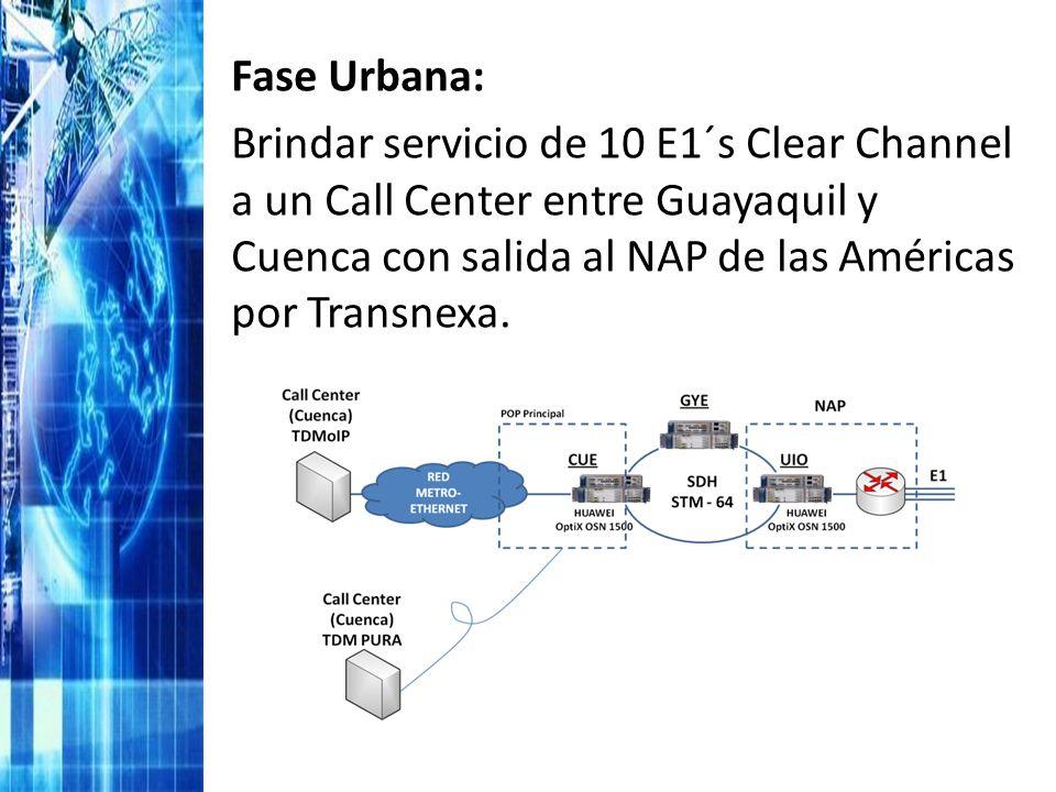 Fase Urbana: Brindar servicio de 10 E1´s Clear Channel a un Call Center entre Guayaquil y Cuenca con salida al NAP de las Américas por Transnexa.