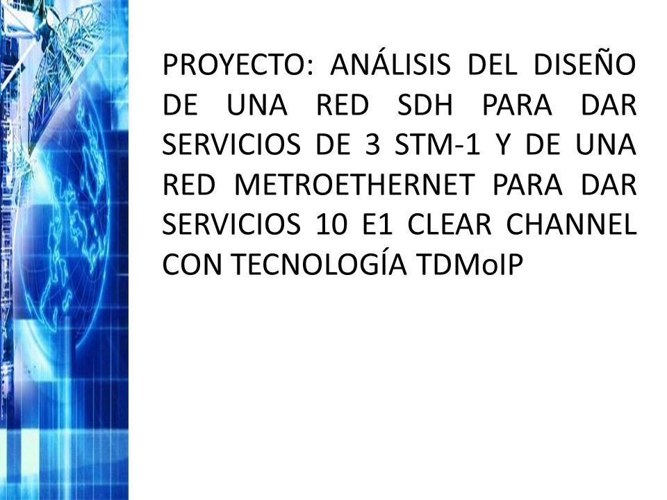 PROYECTO: ANÁLISIS DEL DISEÑO DE UNA RED SDH PARA DAR SERVICIOS DE 3 STM-1 Y DE UNA RED METROETHERNET PARA DAR SERVICIOS 10 E1 CLEAR CHANNEL CON TECNO