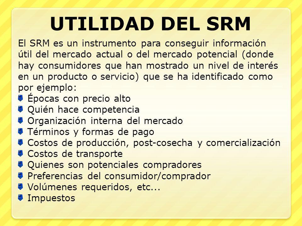 UTILIDAD DEL SRM El SRM es un instrumento para conseguir información útil del mercado actual o del mercado potencial (donde hay consumidores que han m