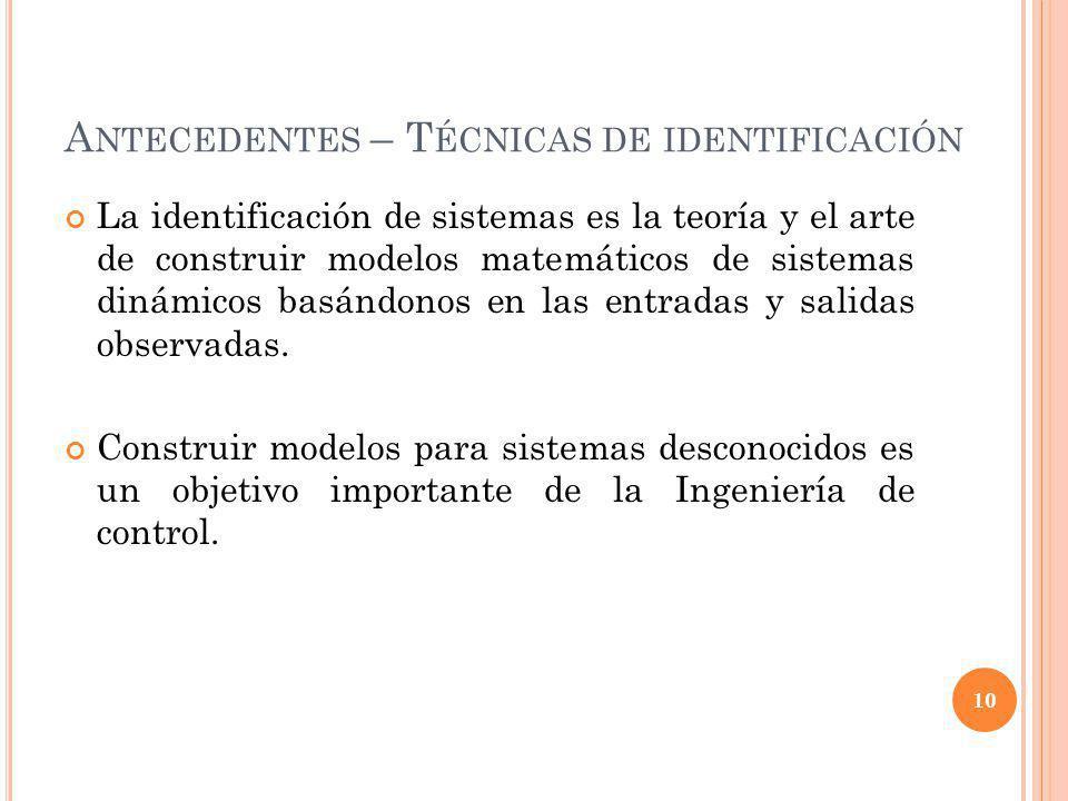A NTECEDENTES – T ÉCNICAS DE IDENTIFICACIÓN La identificación de sistemas es la teoría y el arte de construir modelos matemáticos de sistemas dinámico