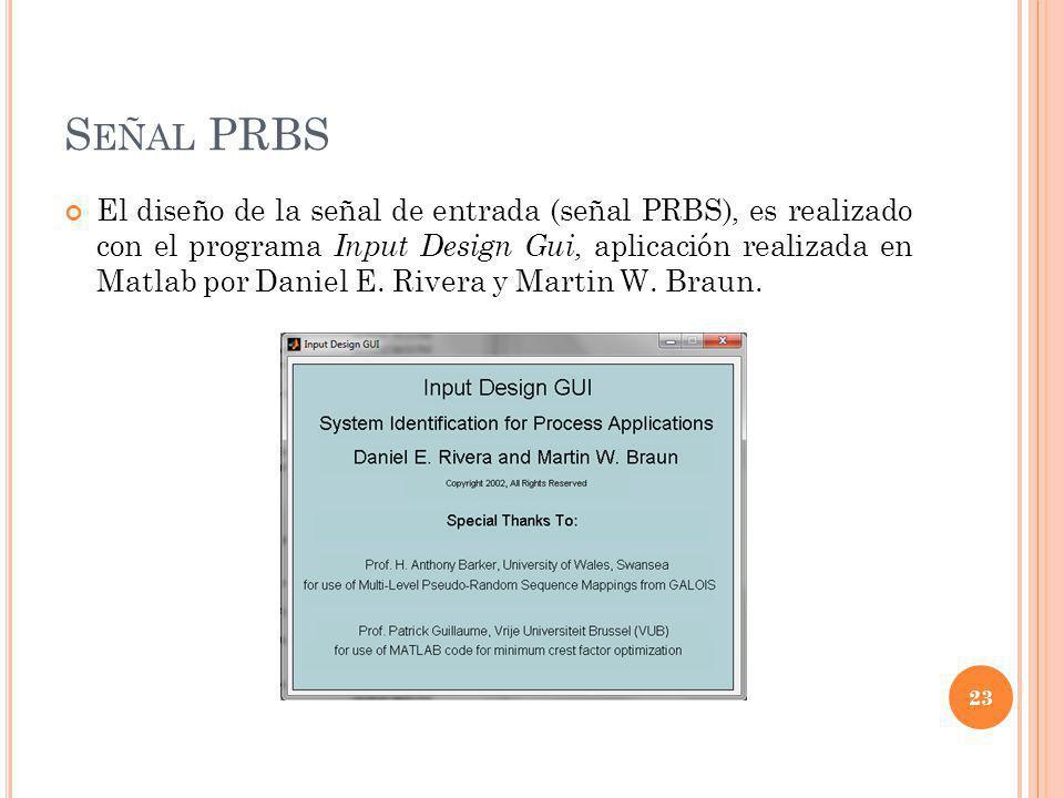 S EÑAL PRBS El diseño de la señal de entrada (señal PRBS), es realizado con el programa Input Design Gui, aplicación realizada en Matlab por Daniel E.