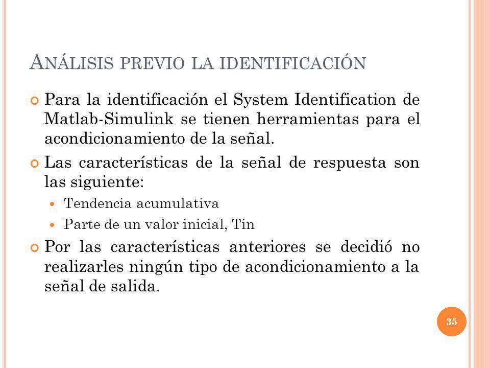 A NÁLISIS PREVIO LA IDENTIFICACIÓN Para la identificación el System Identification de Matlab-Simulink se tienen herramientas para el acondicionamiento