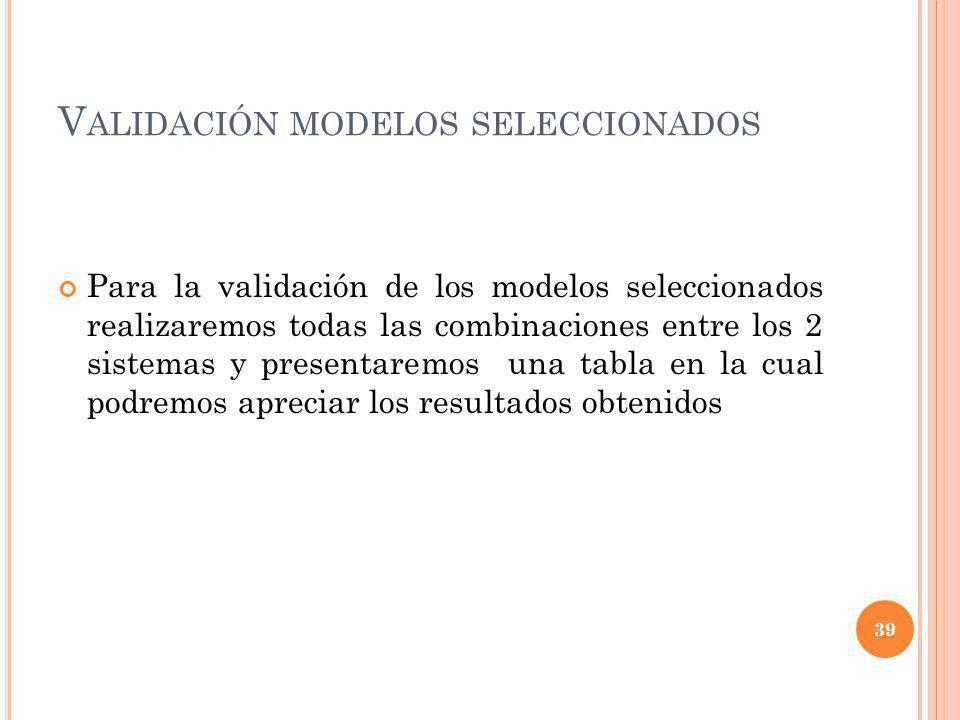 V ALIDACIÓN MODELOS SELECCIONADOS Para la validación de los modelos seleccionados realizaremos todas las combinaciones entre los 2 sistemas y presenta