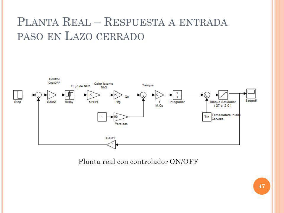 P LANTA R EAL – R ESPUESTA A ENTRADA PASO EN L AZO CERRADO 47 Planta real con controlador ON/OFF