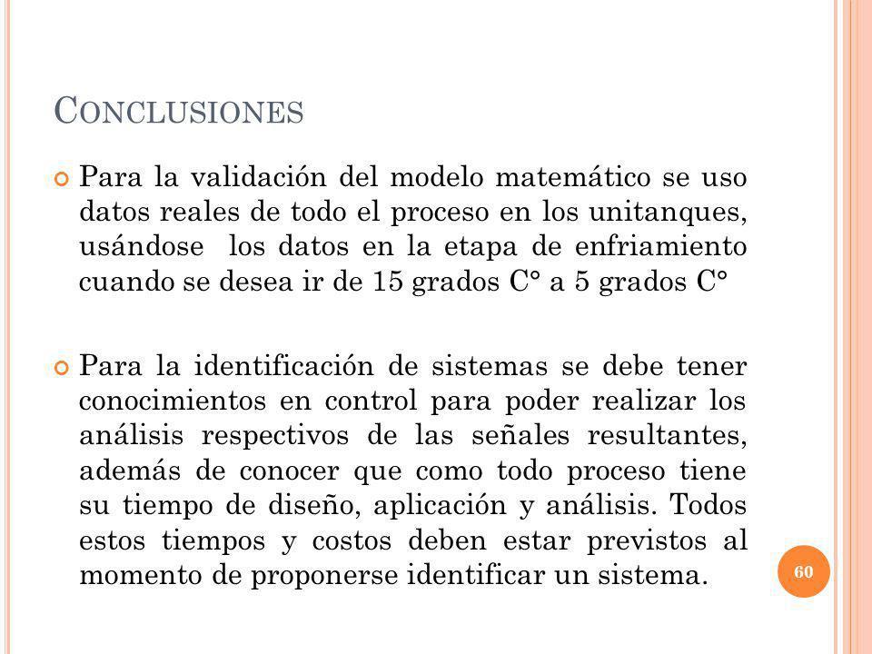 C ONCLUSIONES Para la validación del modelo matemático se uso datos reales de todo el proceso en los unitanques, usándose los datos en la etapa de enf