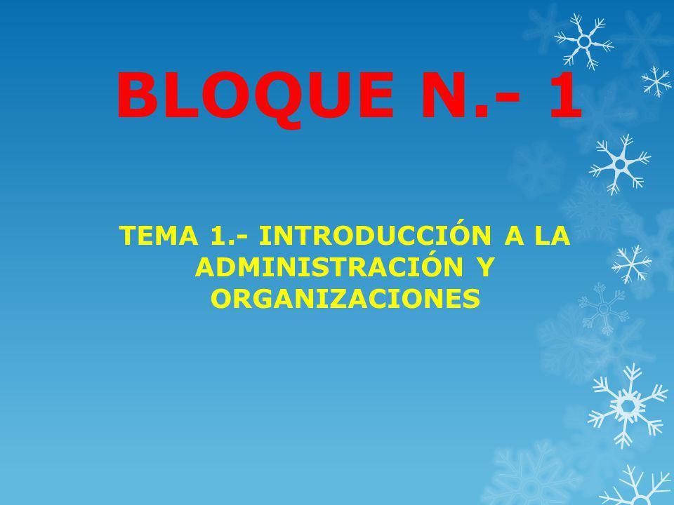 BLOQUE N.- 1 TEMA 1.- INTRODUCCIÓN A LA ADMINISTRACIÓN Y ORGANIZACIONES