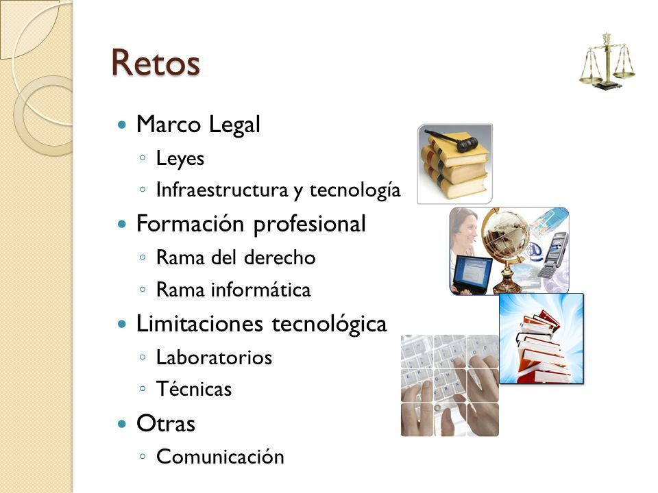 Retos Marco Legal Leyes Infraestructura y tecnología Formación profesional Rama del derecho Rama informática Limitaciones tecnológica Laboratorios Téc