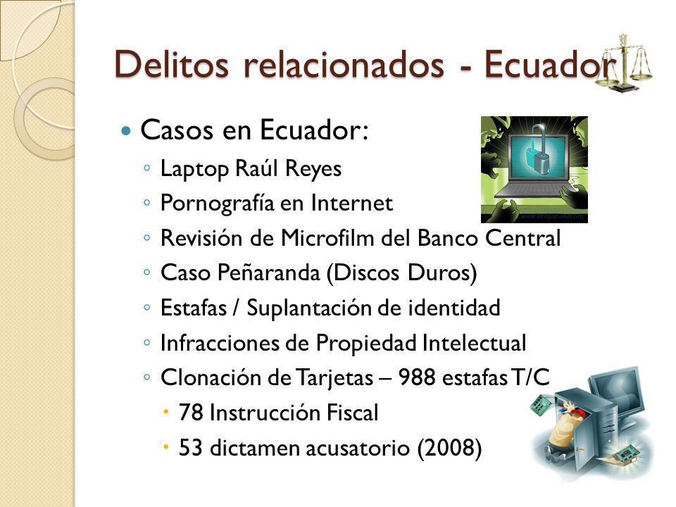 Delitos relacionados - Ecuador Casos en Ecuador: Laptop Raúl Reyes Pornografía en Internet Revisión de Microfilm del Banco Central Caso Peñaranda (Dis