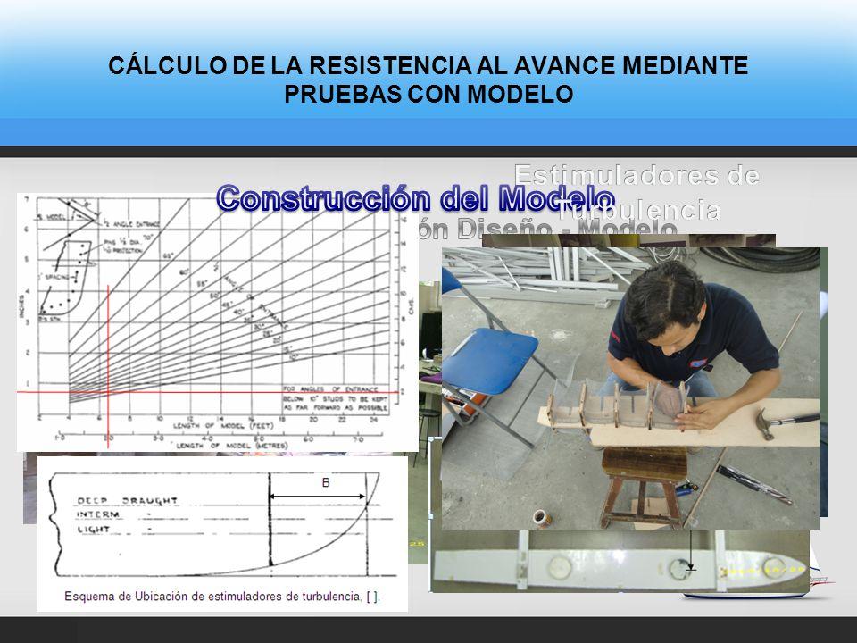 CÁLCULO DE LA RESISTENCIA AL AVANCE MEDIANTE PRUEBAS CON MODELO DiseñoModelo Desplazamiento (Kg)9.3139.54 LCG (cm) desde Pr,+Pp103.75101
